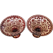 Bohemian Antique Pair of Large Hand Cut Ruby Glass Compotes/CenterPieces 1890s