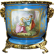 French Gilt Bronze Mounted Sevres Style Navy Blue Porcelain Cache-Pot late 19th Century
