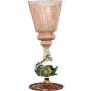 Venetian One Tall Wine Stem Hand Blown Glass Dolphin early 20th century