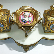 Napoleon III French Glass Gilt Bronze & Porcelain Plaques 2 Perfume Bottles & Stand 19th C.