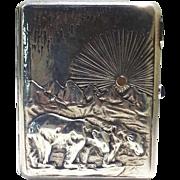 Russian Imperial 840 Standard Silver & 14K Gold Cigarette Case Circa 1900
