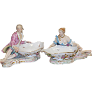 Meissen Pair of Painted Porcelain Large Sweet Meat Dishes Circa 1870s