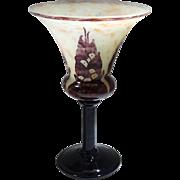 Le Verre Francais France Cameo Glass Compote/Vase Schneider Art Deco 1930s