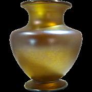 Louis Comfort Tiffany Furnaces Favrile Glass Grand Vase Gold Color Circa 1900