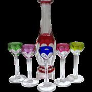 French Saint Louis Colored Glass Liqueur/Cognac Decanter 5 Stems