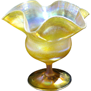 Louis Comfort Tiffany Gold Iridescent Favrile Floriform Glass Vase C. 1900