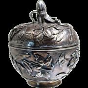 Art Nouveau Japanese Sterling Silver Repousse Iris Design Grand Box Circa 1900