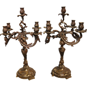 French Louis XV Style Pair of Gilt/Patinated Bronze Five light Candelabra