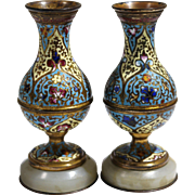 French Champlevé & Gilt Bronze Pair of Enamel Vases Onyx Base Circa 1880's