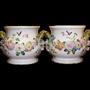 Antique German Dresden KPM Style Cache-Pots Flower Décor late 19th