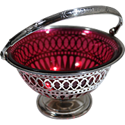 Antique Gorham Sterling Silver Reticulated Basket & Cranberry Glass Circa 1894