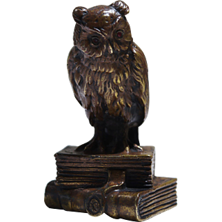 Patinated Bronze Figure of Owl w/Books by Thuss of Argentor Vienna Circa 1915
