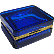 French Celeste/Clara Blue Hand Blown Hinged Jewelry Glass Box 20th century