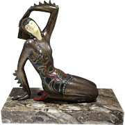 Austrian Art Deco Cold Painted Bronze Figure of Female Dancer Chiparus style