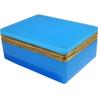 French Grand Opaline Blue Glass Hinged Box 20th Century
