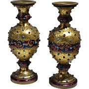 Austrian Gild Bronze Turquise & Ruby Jeweled Enamel Pair of Vases Circa 1900