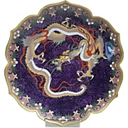 Japanese Cloisonne Enamel on Copper Hand Decorated Dragon Motif Charger Circa 1900