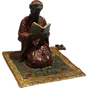 Austrian Bergman Style Cold Painted Bronze Figure of Praying Arab Reading Koran 20th Century