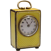 Antique Swiss Sterling Silver Guilloche Yellow Enamel Sub Miniature 8 Day Carriage Clock by Wera