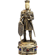 German Sterling Gilt Silver Figure of Knight/King Jewels Carved Face Circa 1900