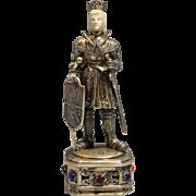 Circa 1915 German Sterling Gilt SilverFigure/Statue of a King w/Sword Dagger
