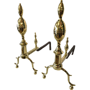 Fireplace Andirons double lemon top early 19th Century