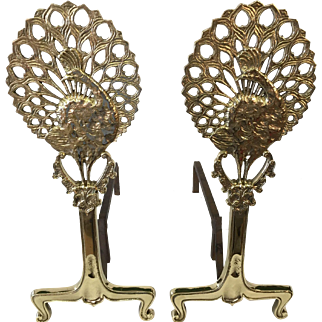 Early 20th century peacock andirons