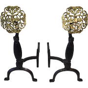 Medallion fireplace andirons