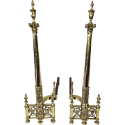 Elegant tall fireplace andirons
