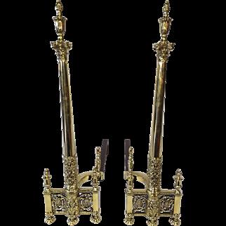 Elegant tall fireplace andirons