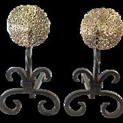 Medallion fireplace andirons