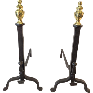 Early 19th Century fireplace andirons