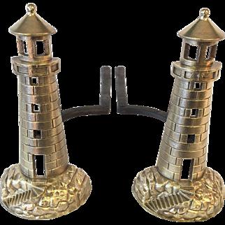 Lighthouse fireplace andirons