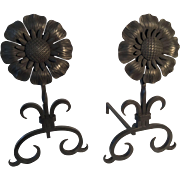 Fireplace andirons sunflower medallion
