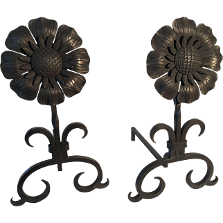 Fireplace andirons sunflower medallion