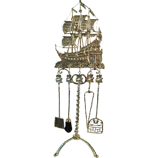 Fireplace tool set late 19th century  Spanish  Galleon