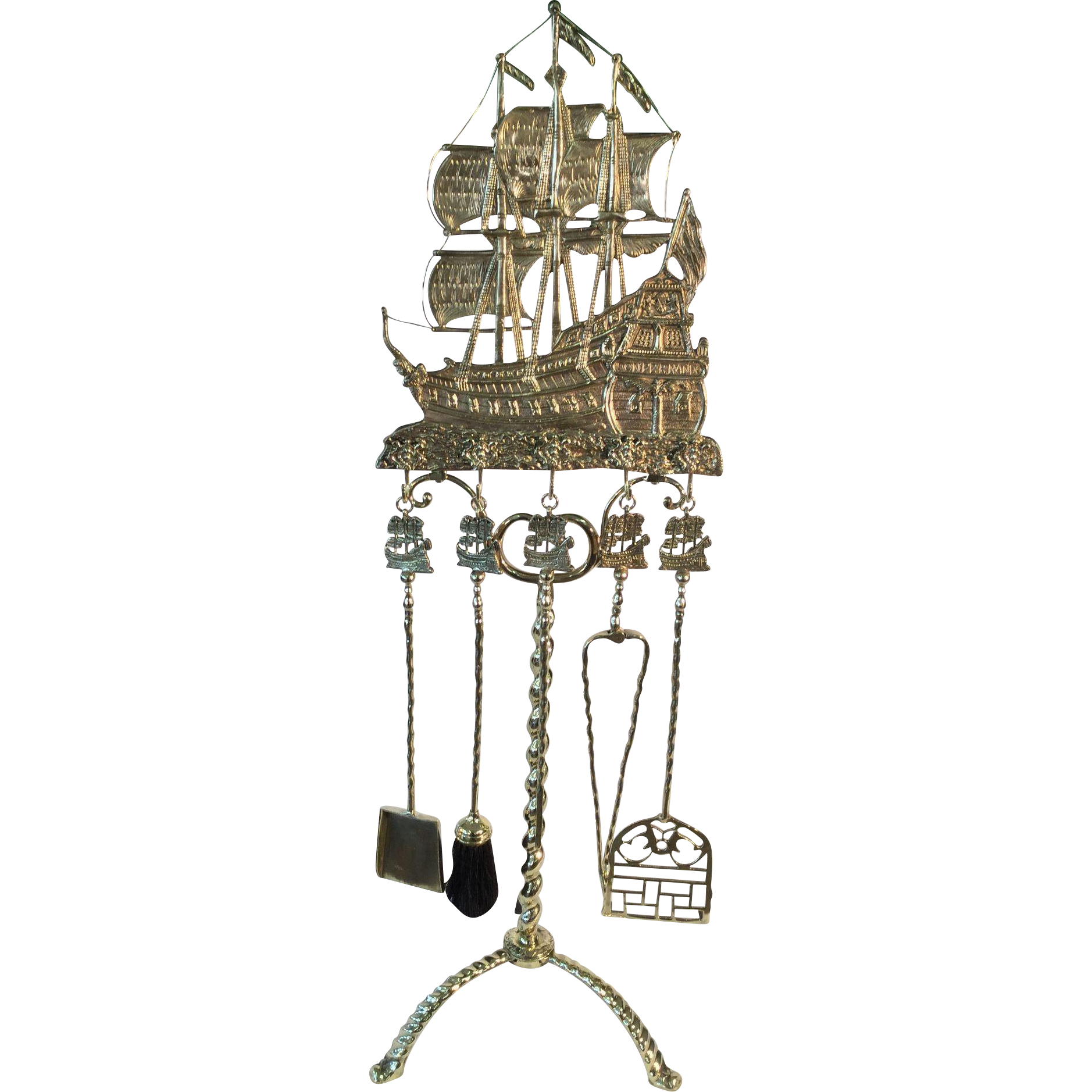 Fireplace tool set late 19th century  Spanish  Galleon