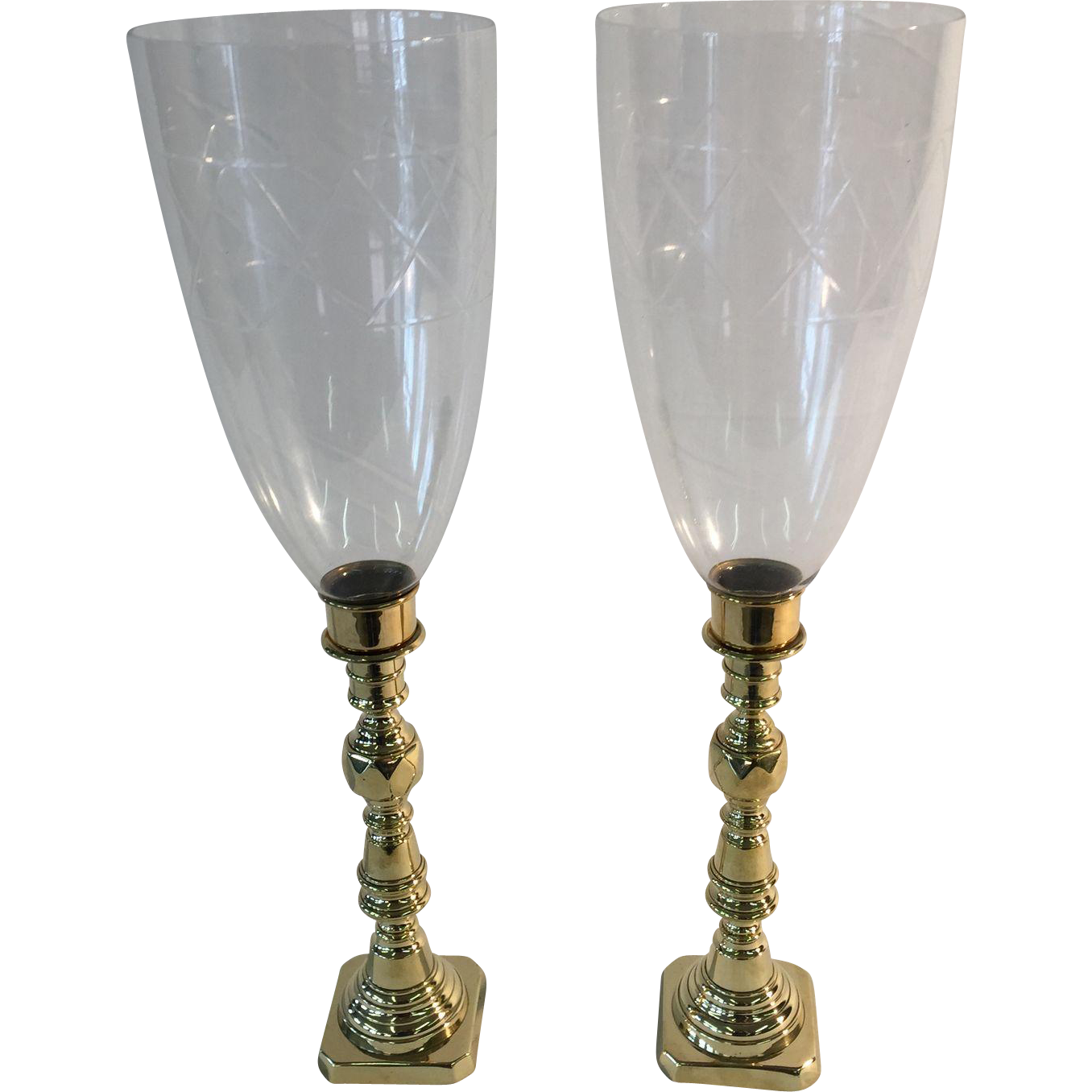 Late 19th century English candle sticks with hurricane shades