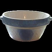 Vintage blue stoneware milk bowl,  berry and leaf design