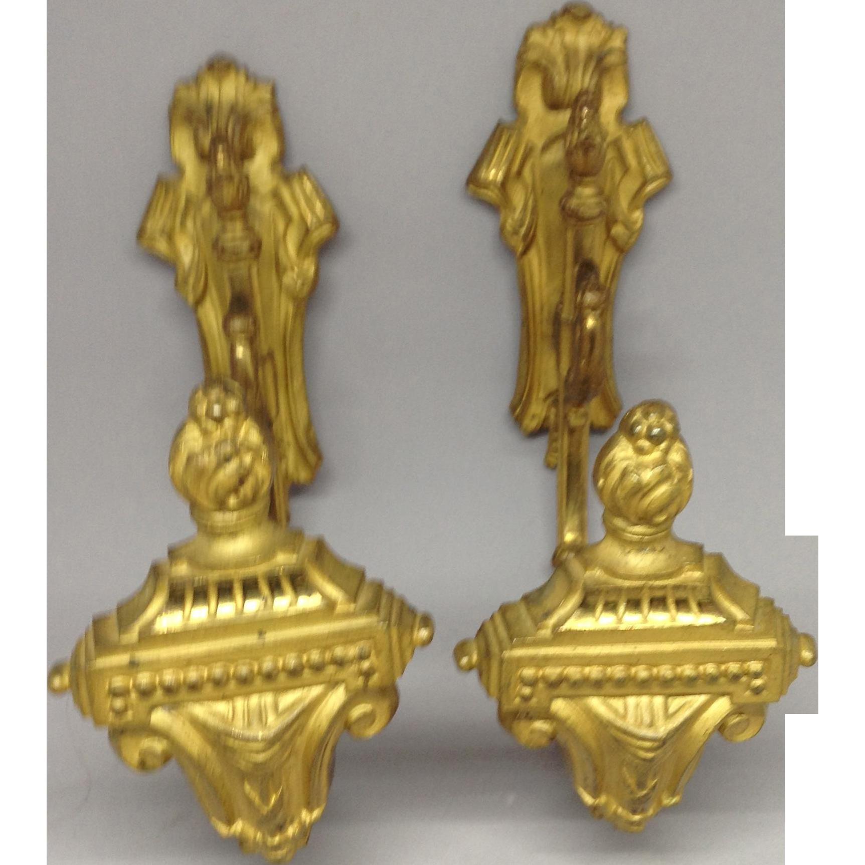 19th Century Pair French Bronze Ormolu Drape Brackets