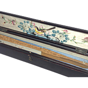 19th Century Chinese Fan in Original Decorated Lacquer Box