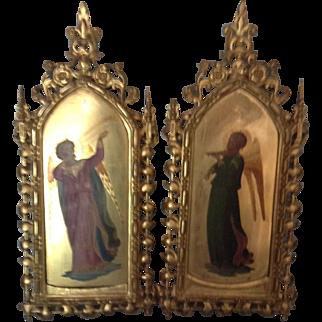 19th Century Pair of Italian Angel Paintings
