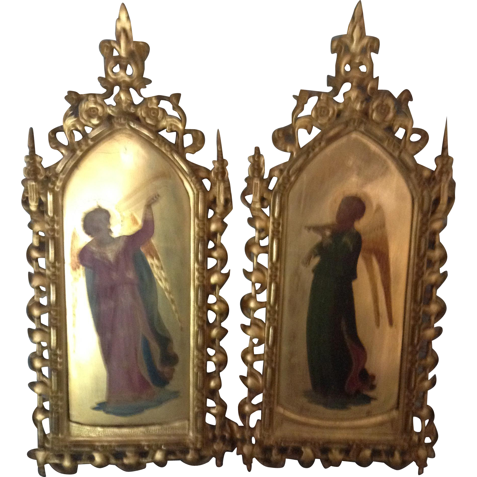 19th Century Pair of Italian Angel Paintings