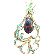 Black Opal Gold Art Nouveau Pendant/ Brooch