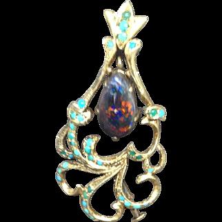 Black Opal Gold Art Nouveau Pendant/ Brooch