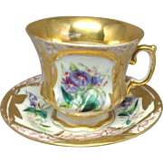 19th century Paris Porcelain Large Cup and Saucer