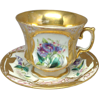 19th century Paris Porcelain Large Cup and Saucer