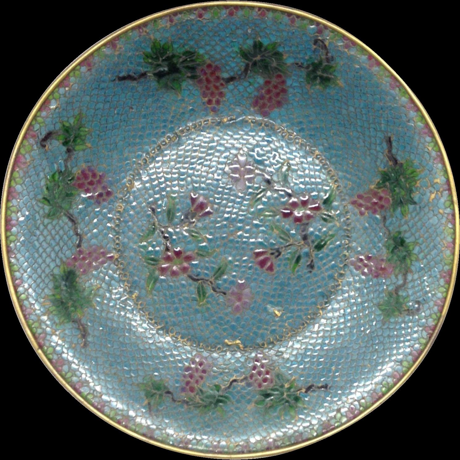 Large Plique a Jour Chinese Bowl