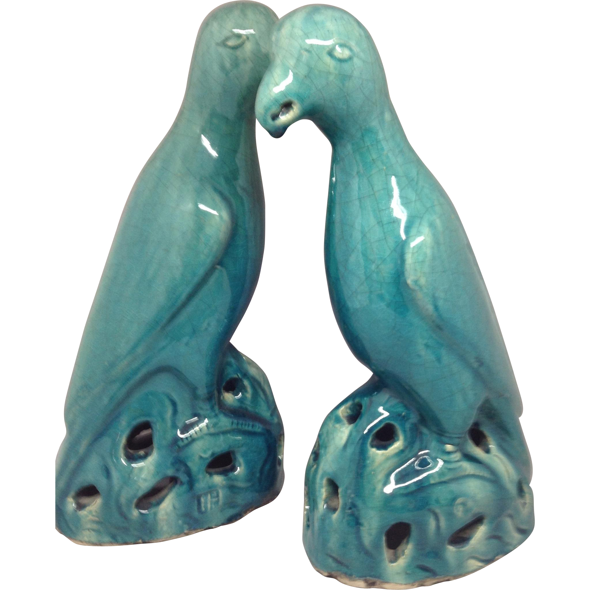 Pair of Chinese Turquoise Birds
