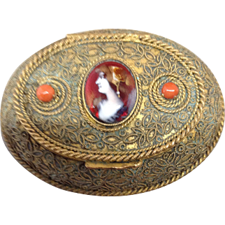 Lovely 19th Century French Box (patch) with Enamel Head, Coral
